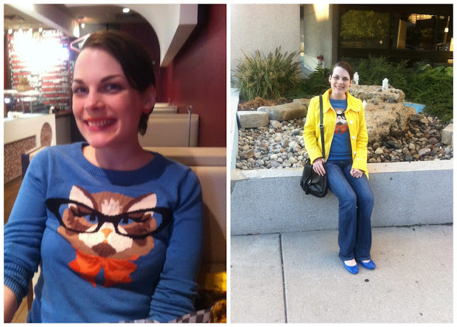 Modcloth kitty sweater, Louche sweater, cats in glasses, Tulle yellow jacket, Suzanne Amlin, A Coin For the Well