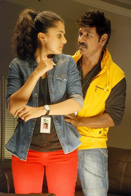Taapsee Pannu with Raghava Laence in Ganga Movie Romantic Spicy Stills Beautiful Taapsee Pannu in Saree