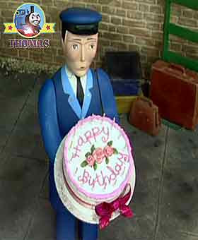 Thomas the train railway porter loaded lovely picnic gift baskets and the bigger happy birthday cake