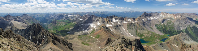 Panoramic image taken from the top of Colorado 14er Mt. Sneffels in the San Juan Range.