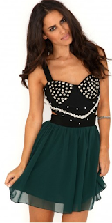 Studded Cut Out Skater Dress In Deep Green Wild-Society