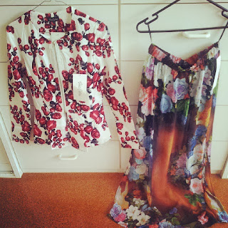 maxi skirt, floral, she's electric, red rose, peplum jacket, australian fashion