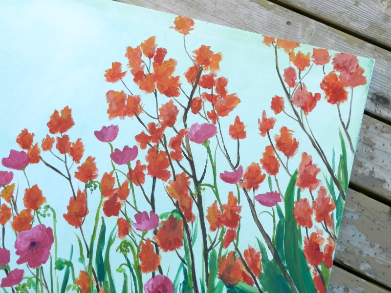 Original Flowers Painting, Acrylic on Canvas by Elise Engh (Grow Creative)