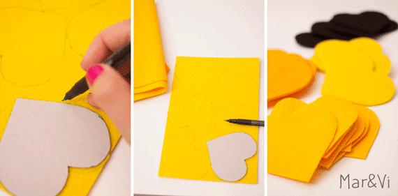 Come fare una ghirlanda di cuori in feltro
