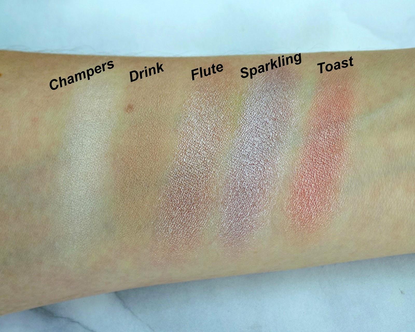 Makeup Revolution 'Pink Fizz' palette swatches