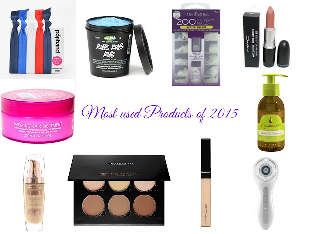 Most used products of 2015 - popband - rub rub rub - Lush - Nailene - Velvet Teddy - Lee Stafford - macadamia oil - loreal - lumi foundation - anastasia beverly hills - contour palette - fit me concealer - clarisonic