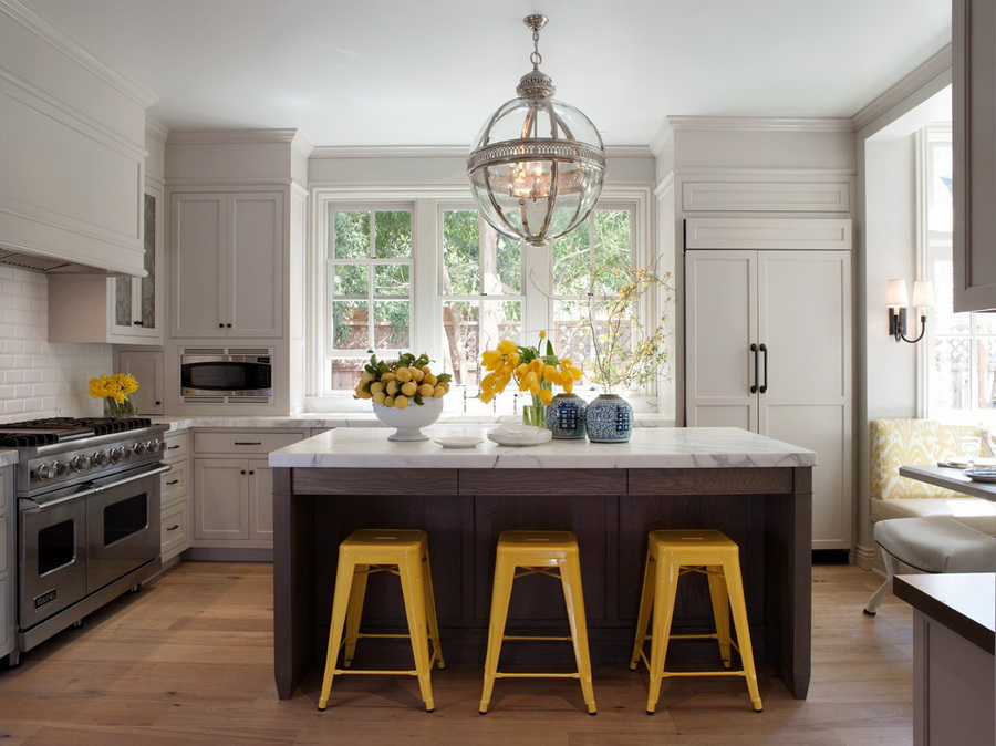 Tolix in the kitchen home design ideas for Yellow and gray kitchen