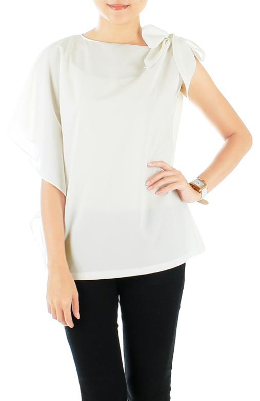White Moon Child Blouse with Ribbon Side