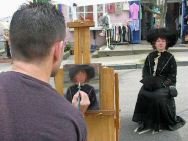 Victoriana Lady Having Portrait Painted By Artist Kevin Murphy