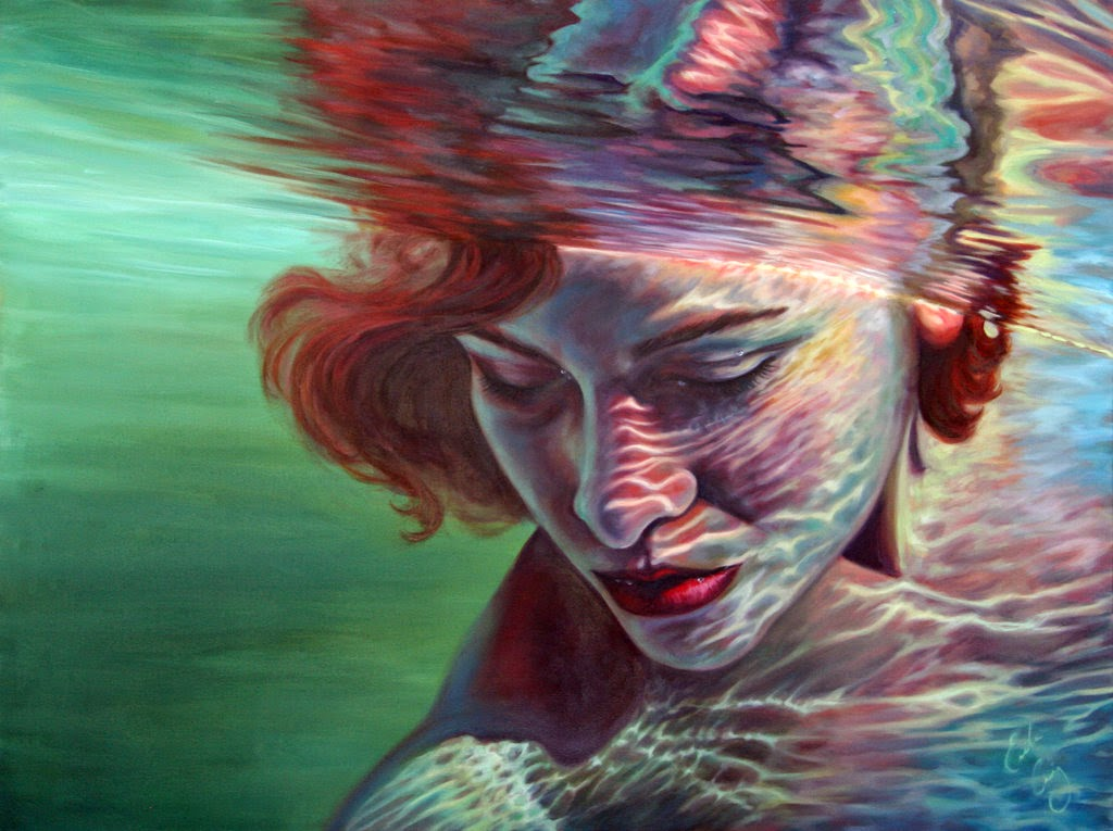 Simply creative paintings of women submerged in water by for Creative paintings pictures