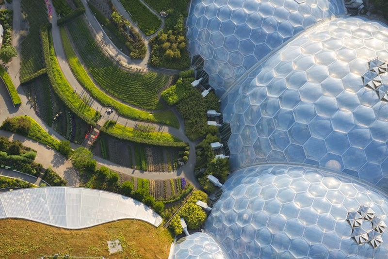 The domed greenhouses at the Eden Project in St. Blazey, Cornwall.