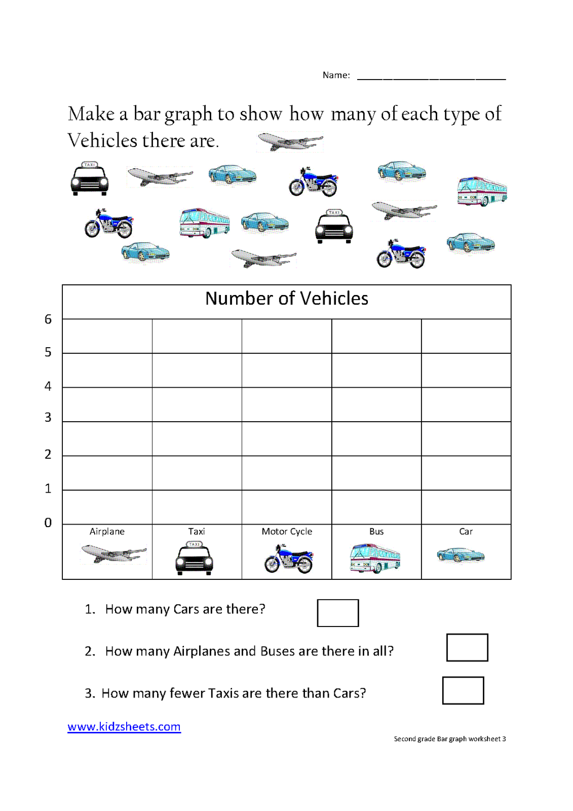 kidz worksheets: second grade bar graph worksheet3