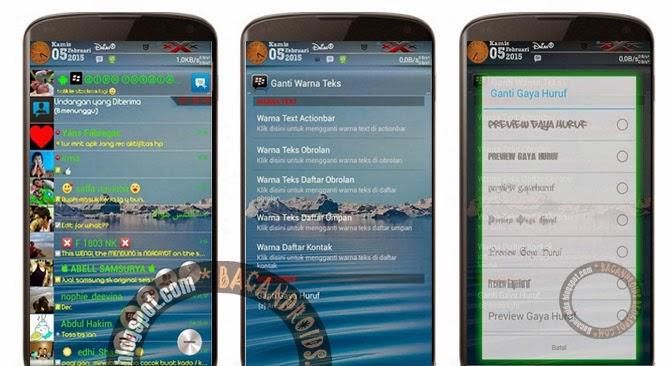 Download BBM Mod Transparant Change Font Style Color bisa ganti huruf dan warna