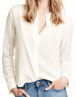 H&M Lace Sleeved Blouse