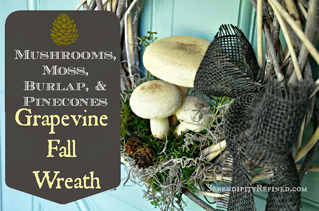 Fall Autumn Wreath: Woodsy Burlap Mushroom Moss and Pinecones #diy #fall #wreath