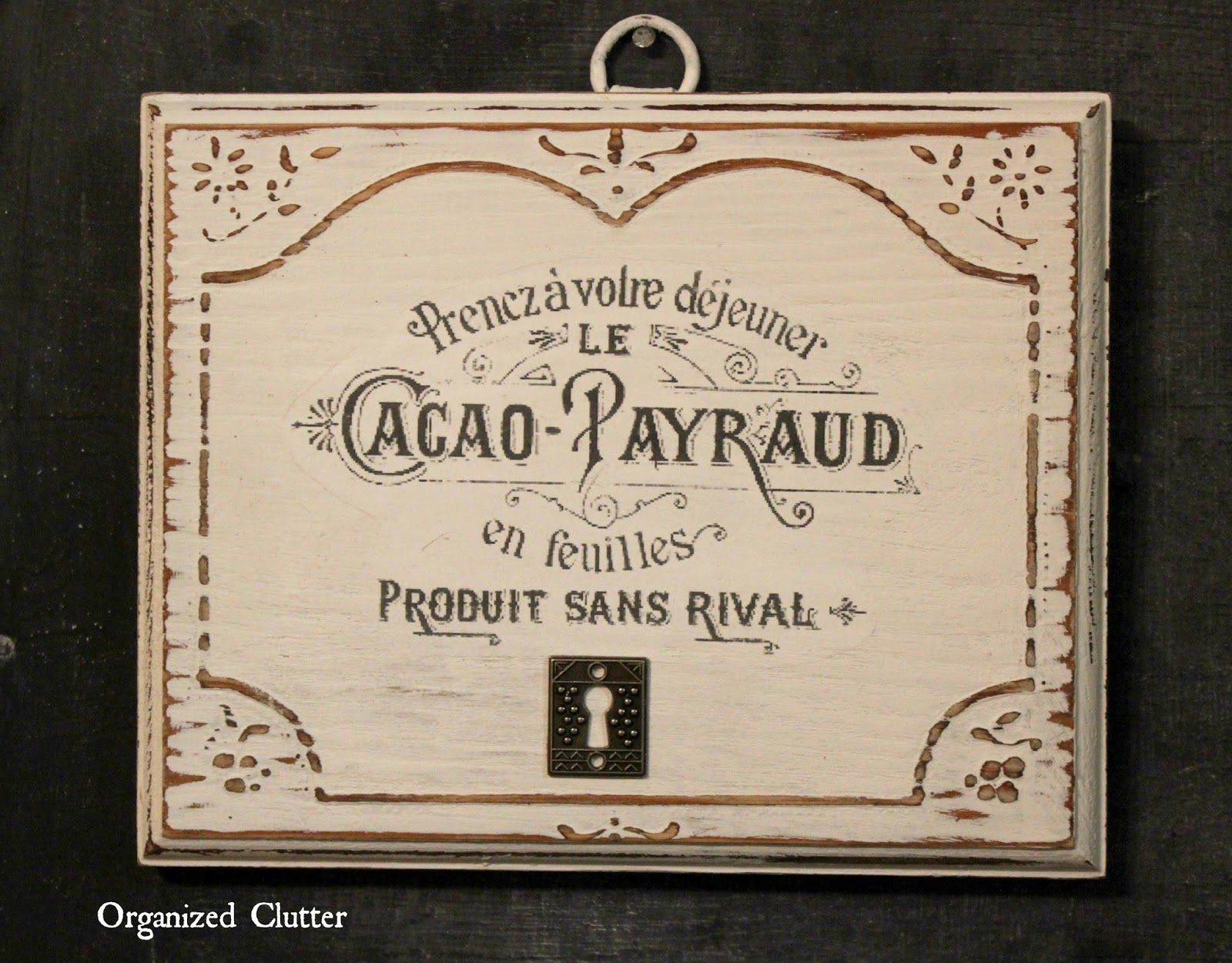 Thrift Shop Plaque Upcycled with French Image Transfer www.organizedclutter.net