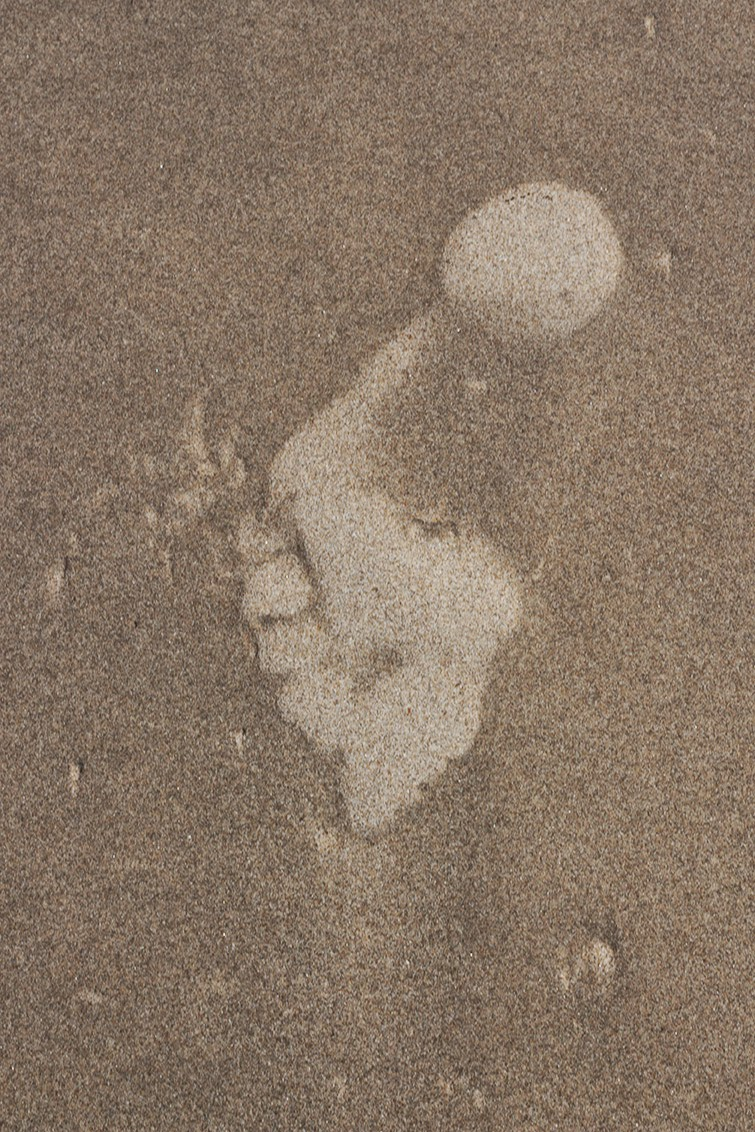 bare male footprint in sand