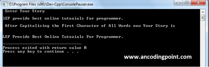 Capitalizing Words First Character in C++