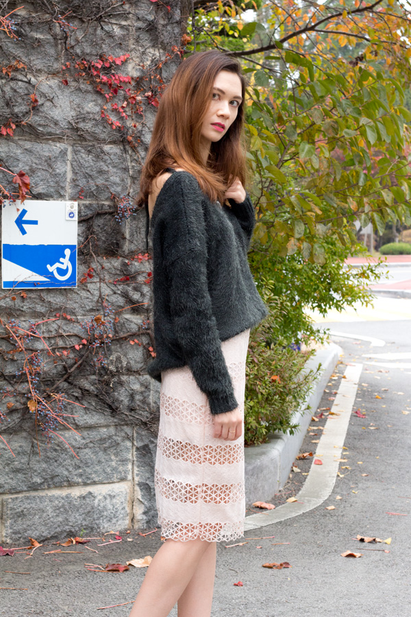 winter fashion, fall fashion, feminine oversized sweaters, tangled musings blog, casual n couture blog, hobo fashion, work wear, lace skirt, fuzzy knit, off shoulder, back to school, korean fashion, forever21, astr