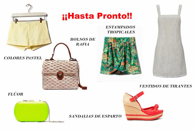 Ropa tendencias primavera/verano 2012: flúor, colores pastel, sandalias de esparto y estampado tropical