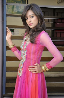 Actress Vithika Sheru Pictures in Pink Salwar Kameez at Prema Ishq Kaadhal Movie Success Meet 0061