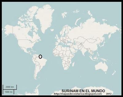 Ubicacion de SURINAM en el mapamundi  (OpenStreetMap)