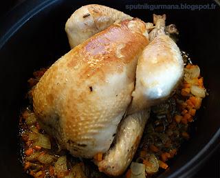 Курица, запечённая с эстрагоном и овощами