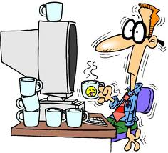 cartoon of man sitting in front of computer surrounded by lots of coffee cups