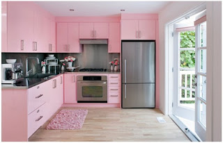 pink cabinets for kitchen