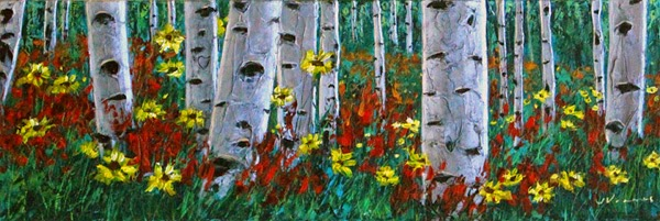 Aspen Art Birch Tree Paintings by Jennifer Vranes