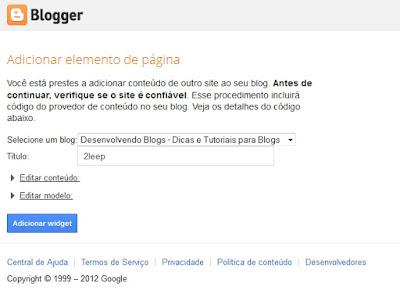 autorizando widget no blogger