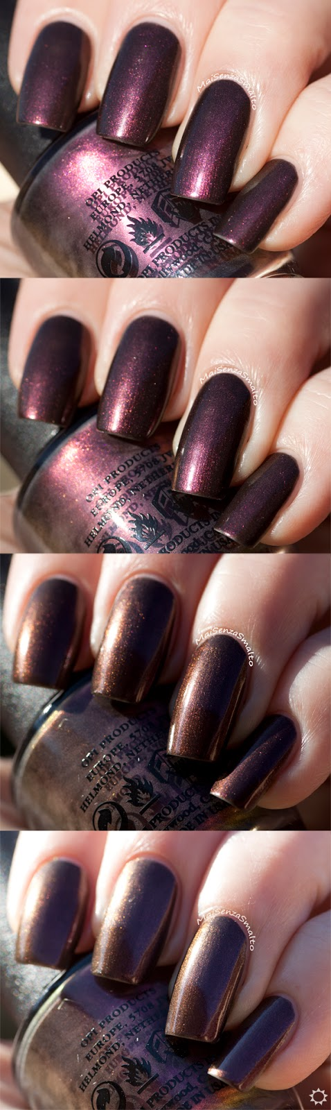 OPI Muir Muir on the wall color shift (4 pics)