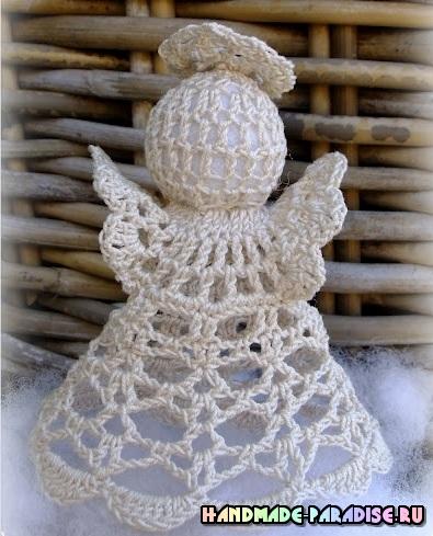 Рождественский ажурный ангел крючком