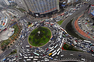 Aerial photo of a traffic jam on a roundabout in a Chinese city