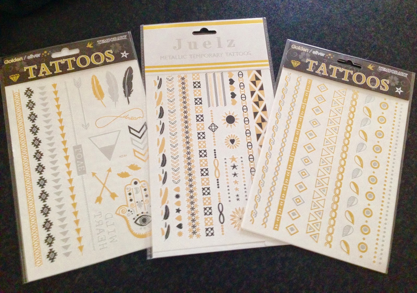 Temporary Tattoos Gold Black