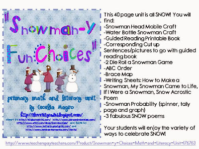 http://www.teacherspayteachers.com/Product/Snowman-y-Choices-Math-and-Literacy-Unit-176763