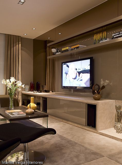 Como decorar e integrar a sala de estar e home theater papo de design - Sala home theatre ...