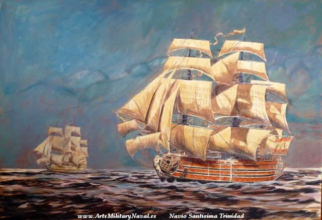Oleo del navio Santisima Trinidad  pintado pasos a paso 5
