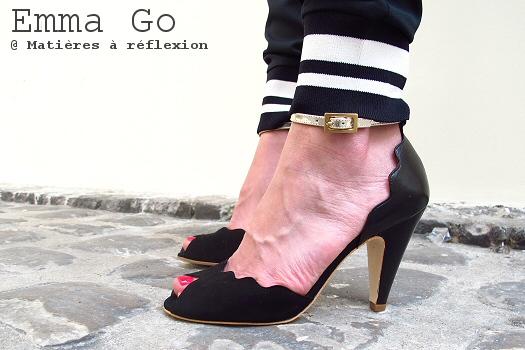 Escarpins noir métallisé daim cuir Riona Emma Go chaussures