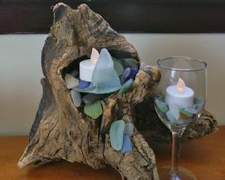 Beach glass and driftwood decor