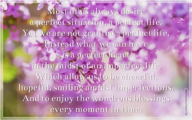 most of us always desire a perfect situation a perfect life