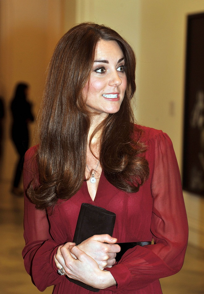 Kate Middleton Wears A Maroon High Street Dress At The