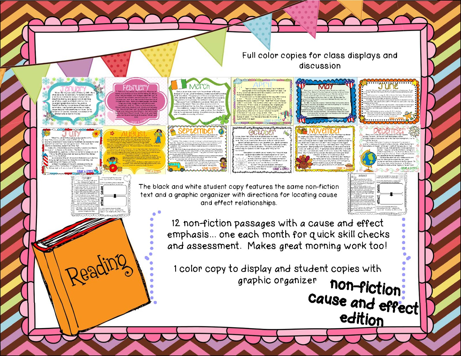 bunting books and bright ideas three fer thursday and gooooo the students job is to cause and effect key words and two cause and effect relationships and place that information into a graphic organizer