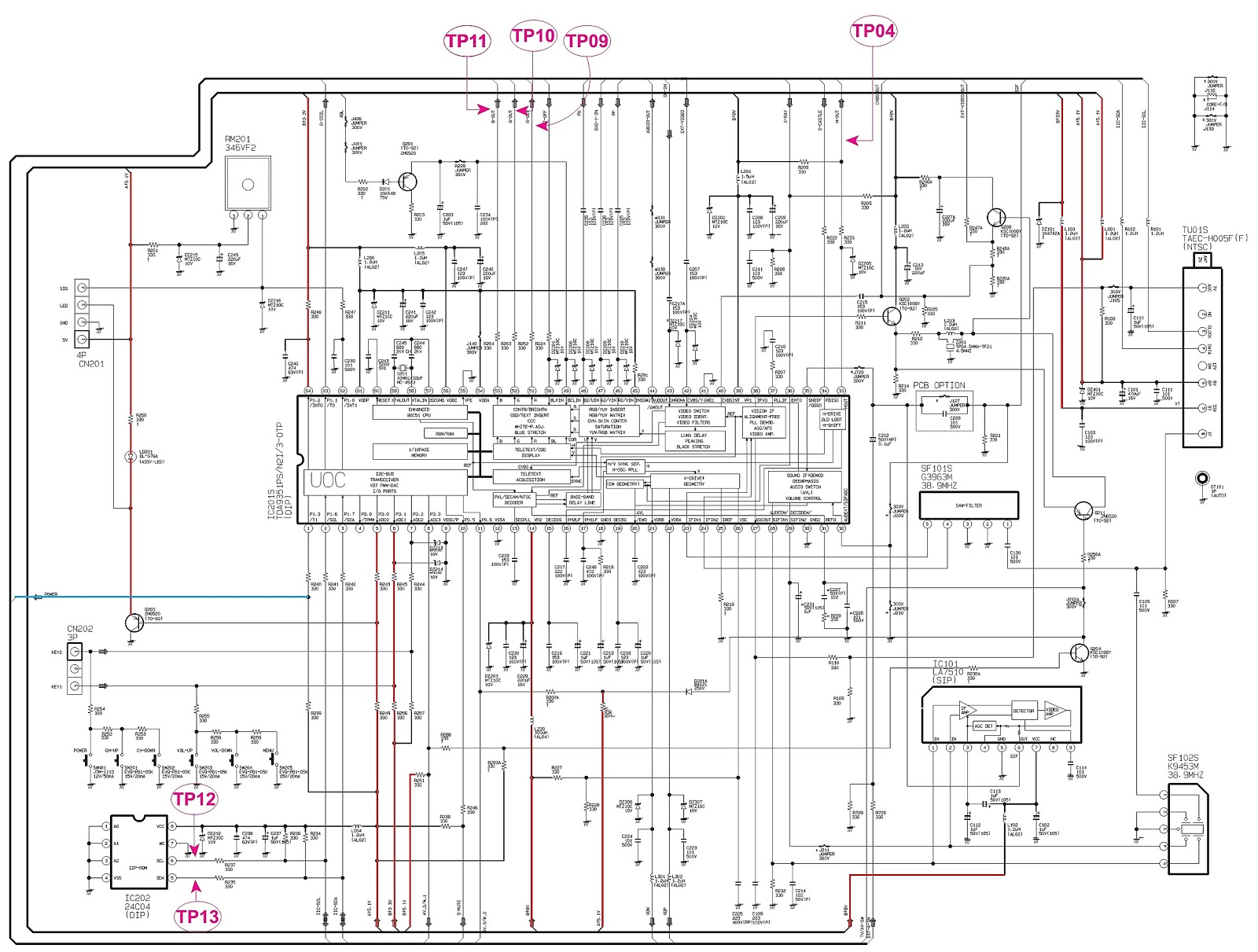 Samsung Cl21k40 - Crt Tv - Service Mode - Circuit Diagram