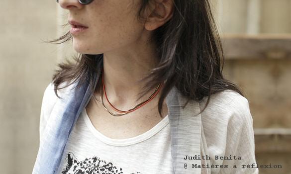 Collier rouge Judith Benita multichaînes