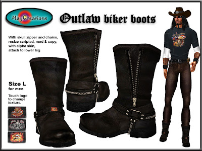 Second life virtual fashion MayCreations outlaw biker boots