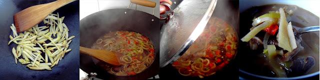 Elaboración sopa de setas con fideos de patata