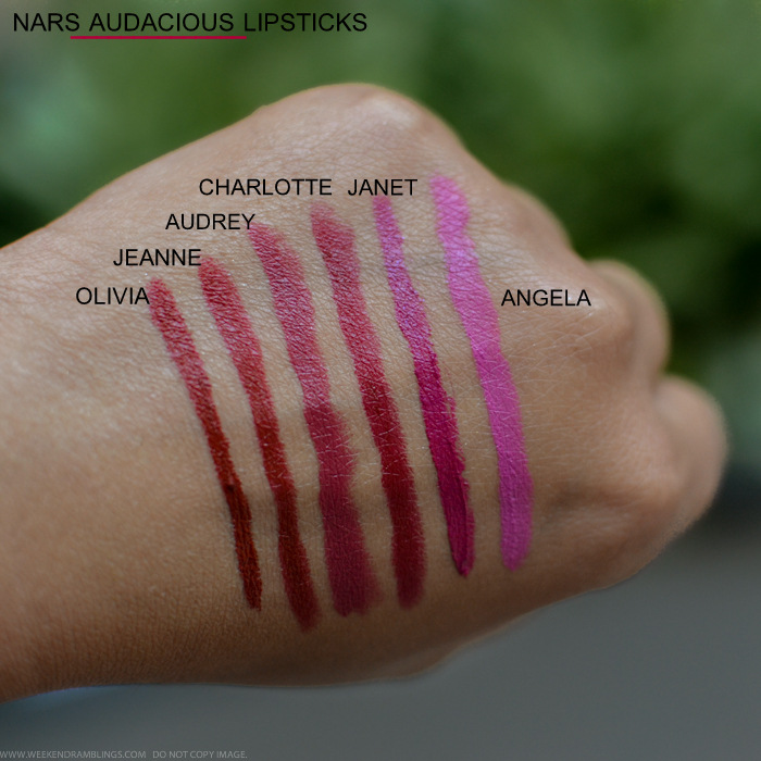 NARS Audacious Lipsticks Swatches Olivia Jeanne Audrey Charlotte Janet Angela