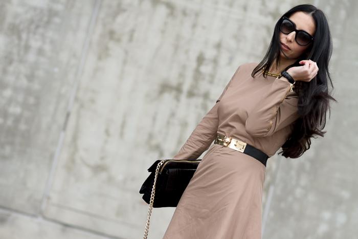 VestidoWolflamb color camel manga cremalleras Madrid web online compra descuentos blogger moda y belleza WOWS Reloj Retro
