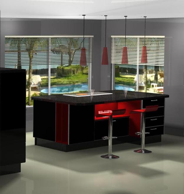 Diseño de isla en negro y rojo